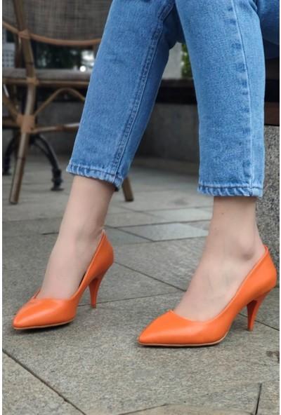 Anabelle Deri Oranj Topuklu Stiletto