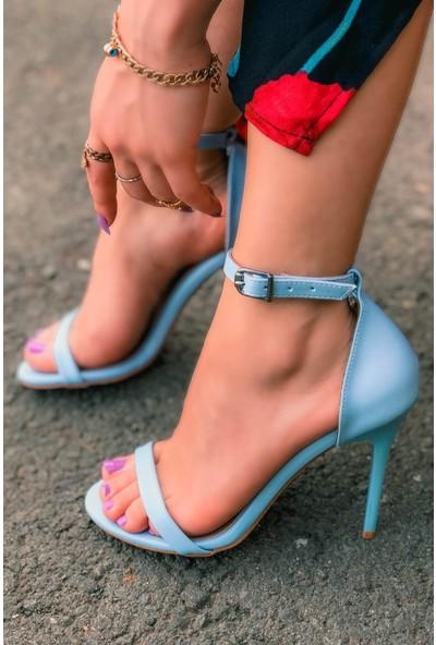 Pedro Deri Tek Bant Bebek Mavi Topuklu Ayakkabı