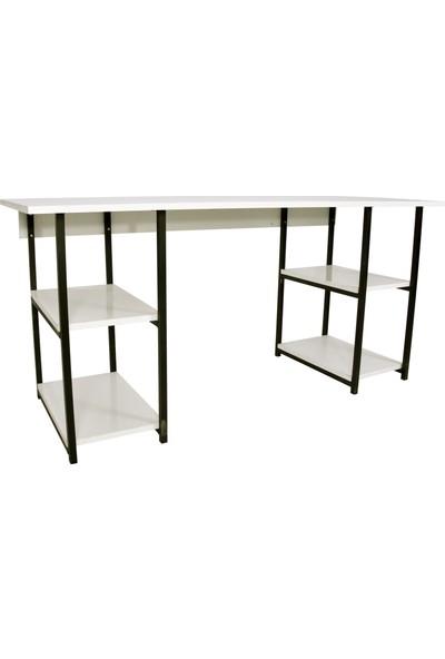 Noowa 4 Raflı Lüks Çalışma Masası-Beyaz