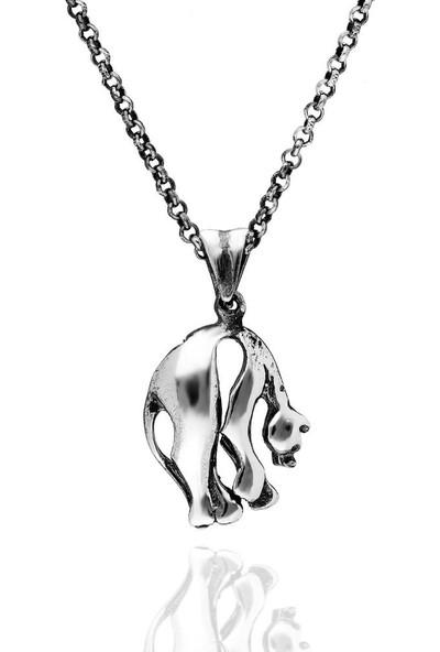 Candie Silver Puma Figür Gümüş Kolye 45 cm