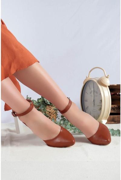 Pabucmarketi Kadın Taba Cilt Topuklu Ayakkabı