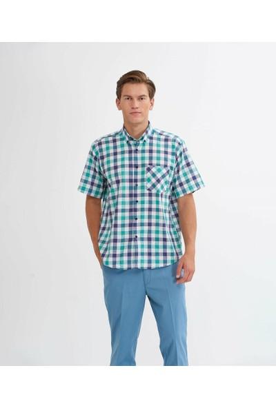 Çetinkaya Normal Kalıp Erkek Yeşil Kareli Gömlek