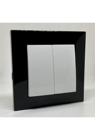 Elbi Vega Komütatör Ikili Anahtar Çerçeveli Siyah Beyaz Renkli