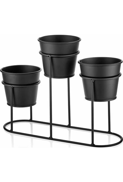 The Mia Saksı 3 Lü Set - Siyah
