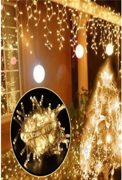 Bitcotech Dekoratif Saçak LED Işık Ip Perde Sarkıt Yılbaşı Süs
