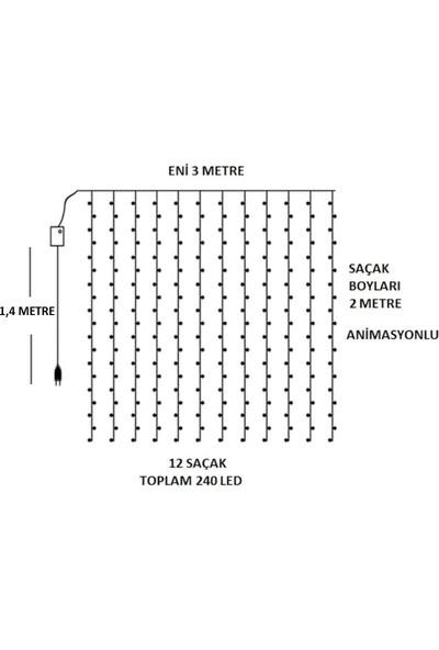 Technosmart 3x2 Metre Perde LED Animasyonlu 12 Saçaklı 240 Ledli Fişli Eklenebilir 8 Fonksiyonlu