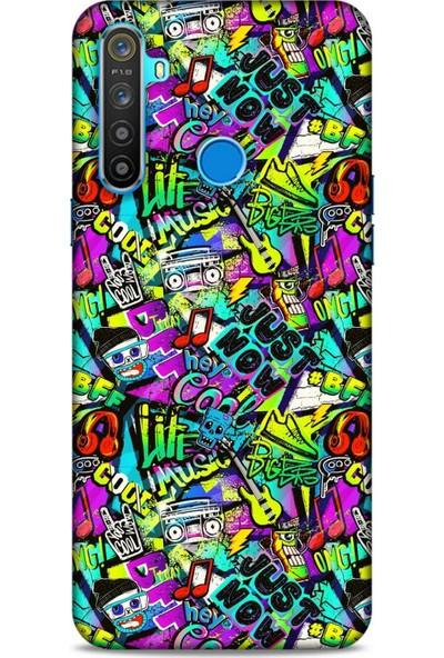Lopard Graffitix (9) Desenli Silikon Kapak Oppo Realme 5i Kılıf