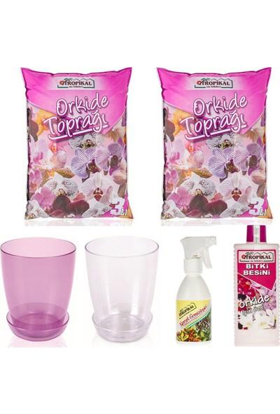 Gül Çiçek Sarayı Orkide Çiçek Bakım Seti, Orkide Vitamini, Orkide Toprağı, Orkide Saksısı