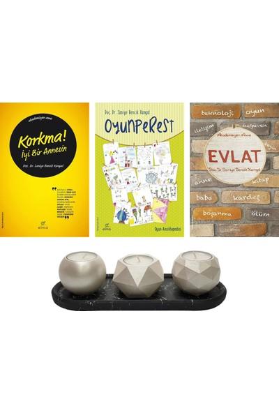 Korkma! İyi Bir Annesin - Oyunperest - Evlat - Saniye Bencik Kangal 3 Kitap Set + Betonsu Tasarım Tealight Mumluk Seti