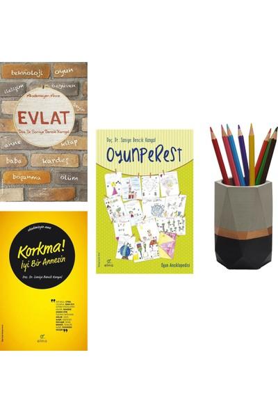 Korkma! İyi Bir Annesin - Oyunperest - Evlat - Saniye Bencik Kangal 3 Kitap Set + Betonsu Tasarım Kalemlik