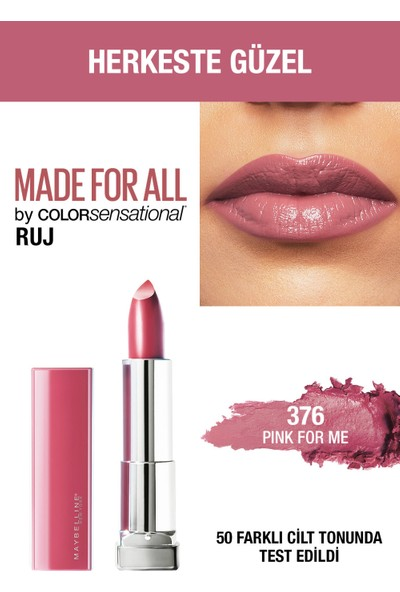 Maybelline New York Color Sensational Made For All Ruj - 376 Pink For Me (Pembe)