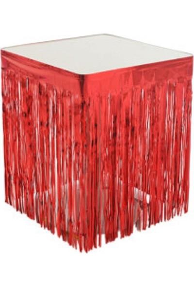 Acar Süs Metalize Kırmızı Renk Masa Kenarı Eteği