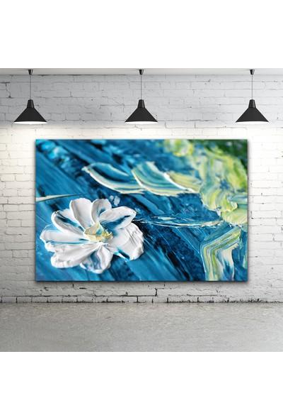 Gökmavi Dekor - Çiçek Yağlı Boya Kanvas Tablo