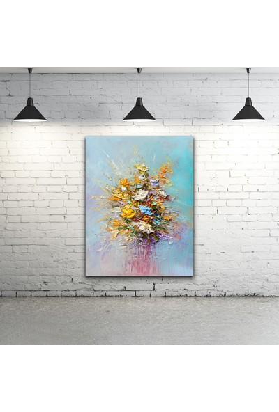 Gökmavi Dekor - Bir Buket Çiçek Yağlı Boya Kanvas Tablo