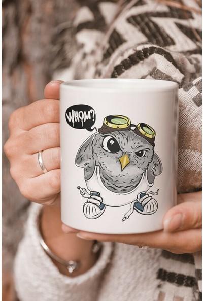 Öztürk Grup Vektörel Çizim Sinirli Baykuş Ungry Owl Whom ? Baskılı Kupa Bardak