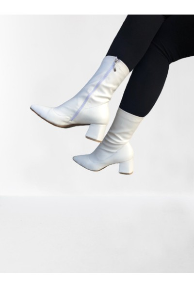 Arme Beyaz Streç Topuklu Bot 6 cm