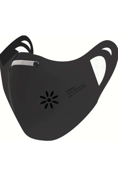 Ersav T3 Siyah Burun Telli 7 Kat Filtreli Yıkanabilir Nano Maske
