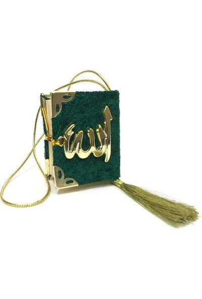 Mini Kadife Kaplı Kuranı Kerim Yeşil -1 Adet