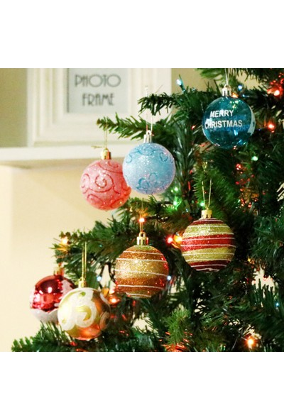 Buyfun Noel Asılı Top Boyalı Top Noel Süsleri 6 cm 24