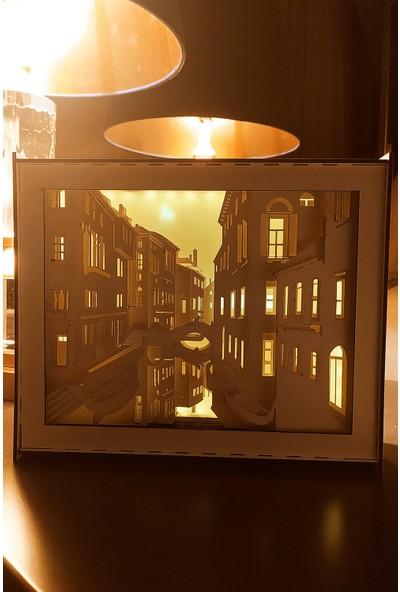 MinİQ Toys Üç Boyutlu Venedik'te Aşk 3D LED Başucu Gece Lambası