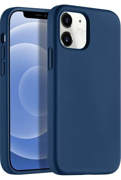 """Melikzade Apple iPhone 12 6.1"""" Soft Touch Altı Kapalı Liquid Silikon Lansman Kılıf"""