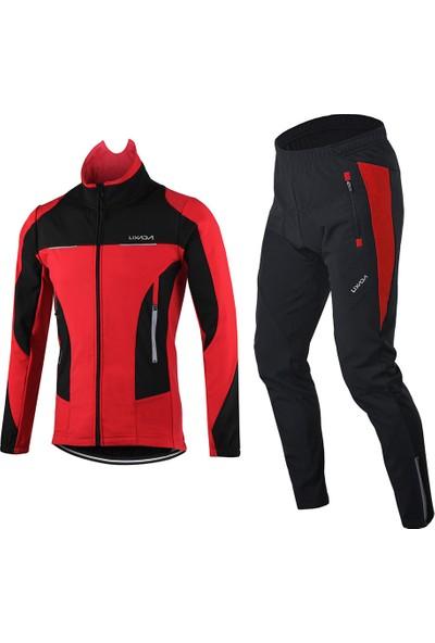 Lixada Erkekler Kış Bisiklet Giyim Seti Rüzgar Geçirmez