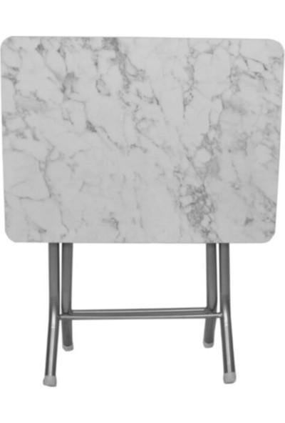 Yagmur Yagmurshopp Beyaz Katlanır Mermer 40X60 Katlanabilir Masa