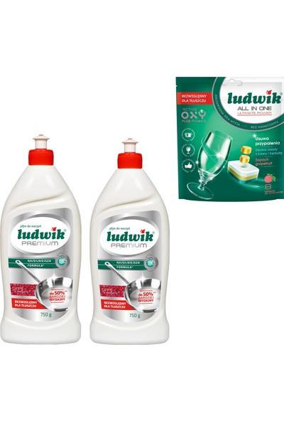 Ludwik Lüdwik Premium Sıvı Bulaşık Deterjanı Narlı 1500 ml + Bulaşık Makine Tableti 8 Li Nar