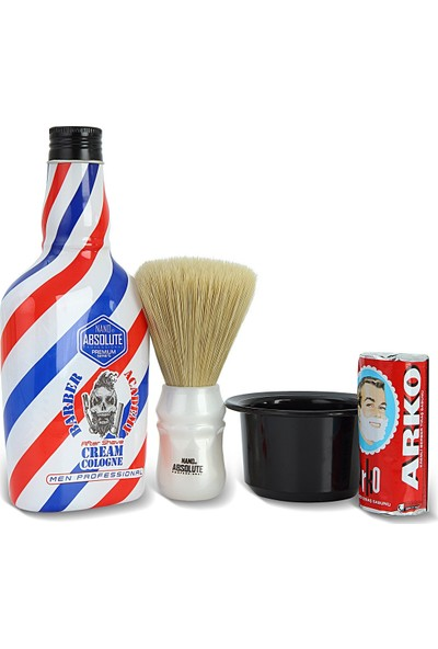 Nano Absolute Berber Tıraş Sabunu 75 Gr. + Nano Absolute Krem Kolonya 400 ml + Ense Fırçası + Tıraş Kasesi Tası