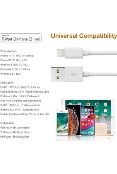 Bydiz Apple iPhone 5-5s-5c-6-6 Plus-6s-6s Plus-7-7 Plus-8-8 Plus-X-Ipad Lightning Şarj ve Data Kablosu