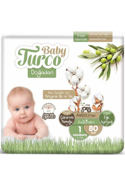 Baby Turco Doğadan 1 Numara Newborn 2-5 kg 80 Adet