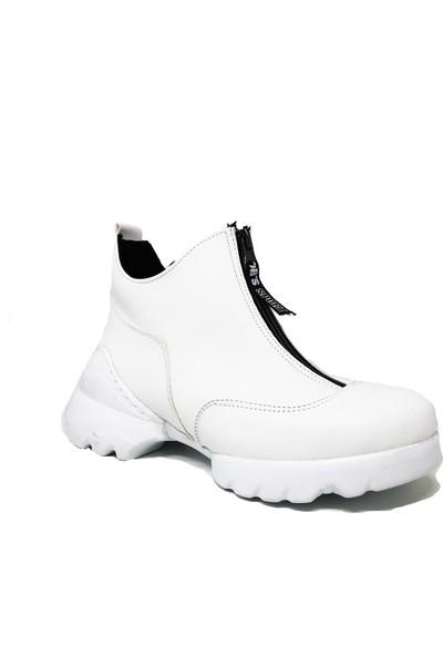 Ventes Kadın Beyaz Sneaker Spor Ayakkabı Yüksek Taban Içi Kürklü 4711910Z