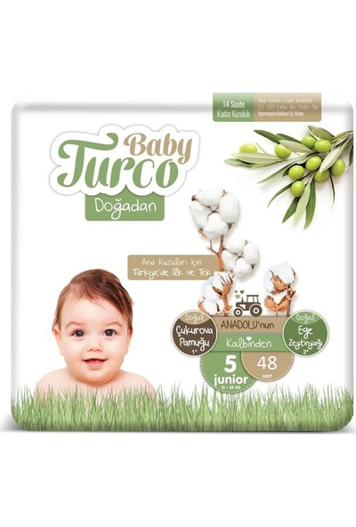 Baby Turco Doğadan 5 Numara Bebek Bezi 12-25 kg Junior 48 Li