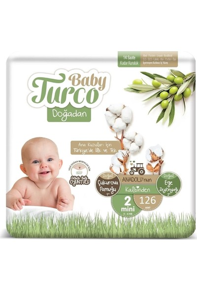 Baby Turco Doğadan 2 Numara Bebek Bezi 3-6 kg Mini 126 Lı
