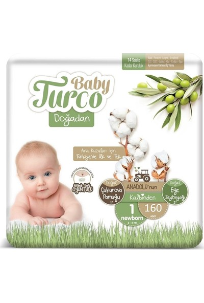 Baby Turco Doğadan 1 Numara Bebek Bezi 2-5 kg Yenidoğan (Newborn) 160 Lı