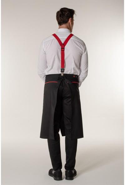 Mert Giyim Siyah Garson Aşçı ve Mutfak Şef Yarım Bel Önlük Kırmızı Biyeli ve Yırtmaçlı