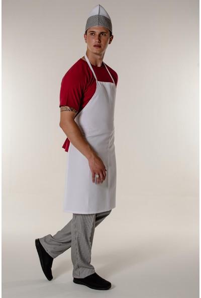 Mert Giyim Beyaz Aşçı ve Mutfak Askılı Önlük