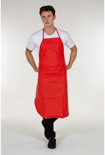 Mert Giyim Kırmızı Muşamba Mutfak Bulaşık Önlüğü PVC