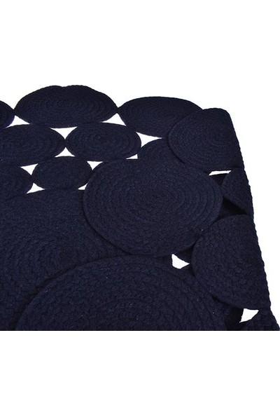 Kustulli Home Kustulli Pamuk Ip Örgü Kilim Papatya Siyah 120 x 120 cm
