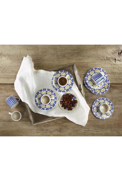 Melly & Merry Mare Çizgi Kahve Tabağı Flower Kahve Fincanı 6lı