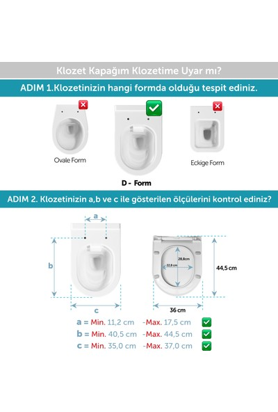 Aqua Bagno Roxy Yavaş Kapanan Klozet Kapağı - Duroplast