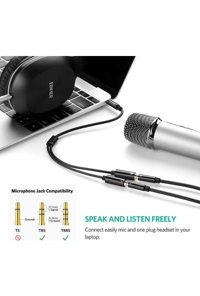 Ugreen Mikrofon ve Kulaklık Ayırıcı 3.5 mm Y Kablo Siyah
