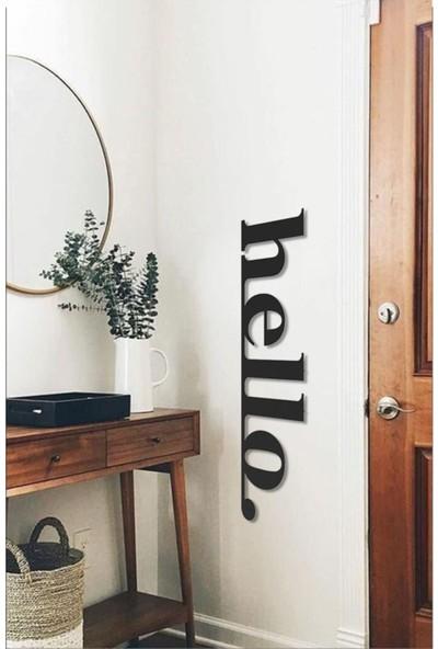 Retro Lazer Hello Ahşap Duvar Yazısı