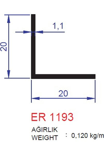 Ersaş Alüminyum 20x20 Mm L Köşebent Profili 1193 Eloksal Parlak 6 Adet 1 Metre