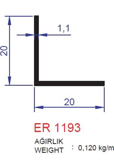 Ersaş Alüminyum 20 x 20 Mm L Köşebent Profili 1193 Eloksal Mat 3 Adet 2 Metre