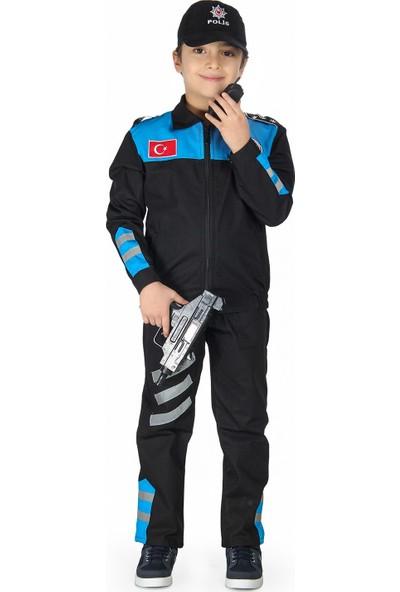Oulabimir Yunus Polis Kostümü Çocuk Üniforması Mavi
