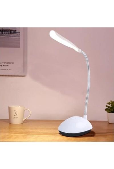 İndirim Kap Kullanışlı Bükülebilir Led Masa Lambası Pilli Beyaz