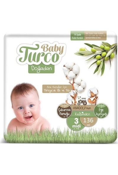 Baby Turco Doğadan 3 Numara Bebek Bezi 5-9 kg Midi 136'lı