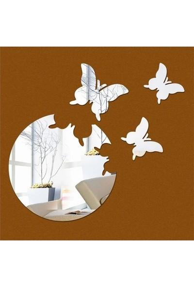 Des Ay ve Kelebekler Dekoratif Ayna Akrilik Gümüş Renkli