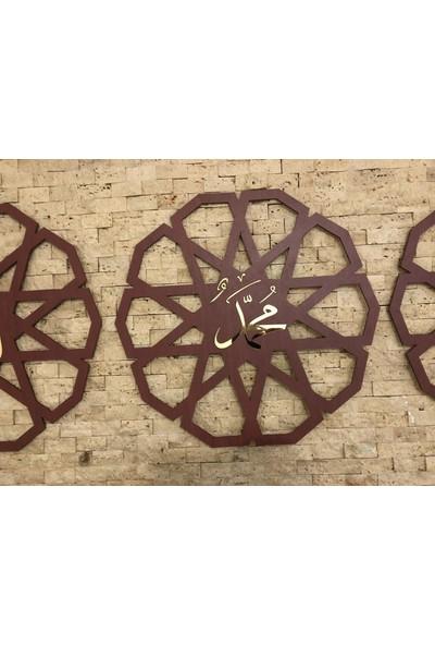 Onca Dekoratif Üçlü Ahşap Dini Tablo 45 cm